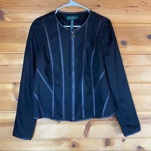 Ralph Lauren Denim zip jacket faux leather trim 14